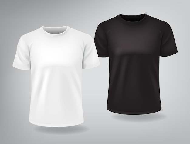 Camisetas blancas y negras con mangas cortas simuladas