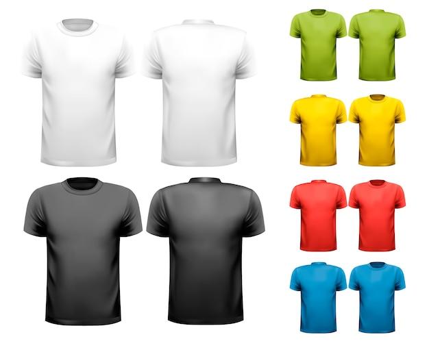 Camisetas masculinas coloridas. plantilla de diseño.