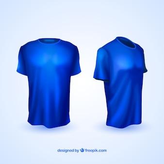 Camisetas realistas en vistas diferentes