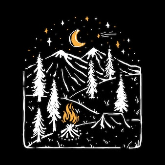 Camp hike nature wild line graphic illustration art diseño de camiseta