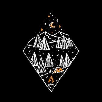 Camp hike nature wild line graphic illustration art diseño de camiseta