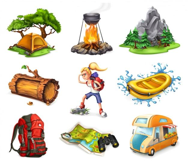 Campamento y aventura, conjunto de iconos 3d