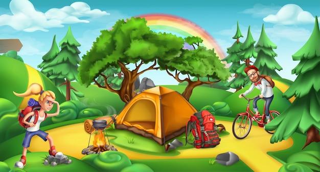 Campamento y aventura. naturaleza paisaje 3d anorama