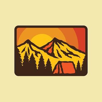 Campamento caminata montaña naturaleza parche pin ilustración