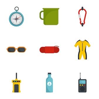 Campamento conjunto de iconos de viaje, estilo plano