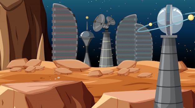 Campamento en escena espacial o de fondo.