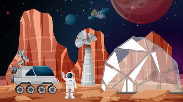 Campamento en escena espacial