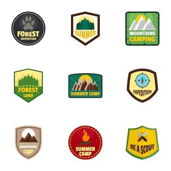 Campamento expedición logo emblema conjunto, estilo plano