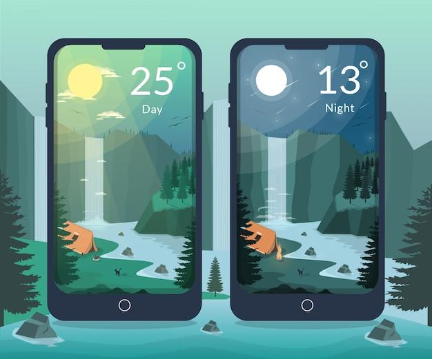 Campamento en la ilustración del día y de la noche del río de la cascada para la aplicación móvil del clima