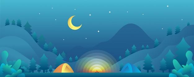 Campamento ilustración paisaje.