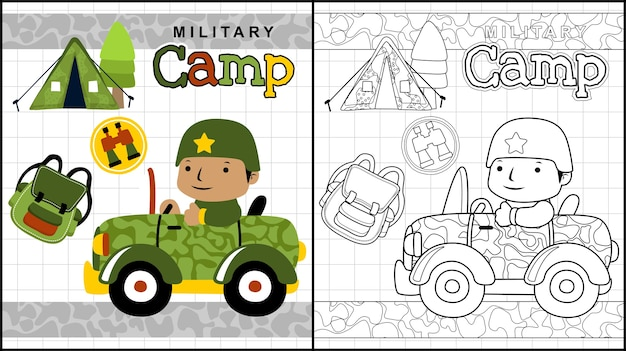 Campamento militar con dibujos animados de soldado en el coche