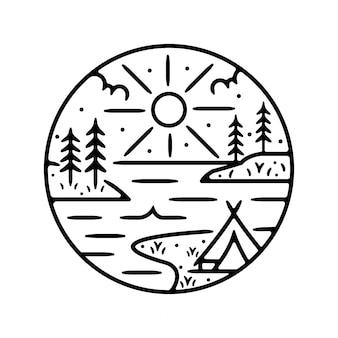 Campamento monoline diseño de placa exterior vintage