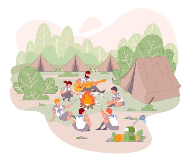 Campamento scout en vetor verano concepto aislado.