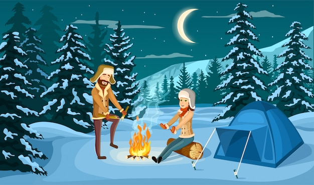 Campamento turístico en bosque de invierno