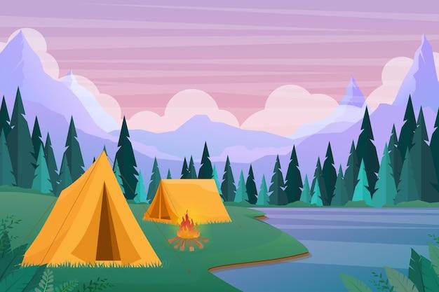 Campamento turístico plano de dibujos animados con lugar de picnic y carpa entre bosque, paisaje de montaña