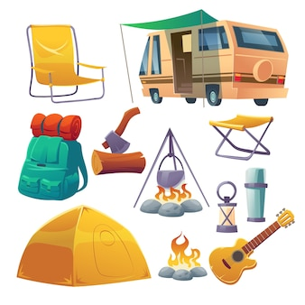 Campamento de verano con carpa, fogata, mochila y camioneta