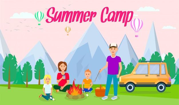 Campamento de verano horizontal banner plana con letras.