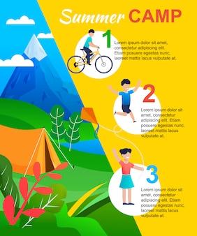 Campamento de verano infográfico con lista de acciones para niño.