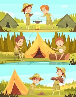 Campamento de verano para niños exploradores actividades 3 pancartas horizontales de dibujos animados retro conjunto con fogata cocinar ilustración vectorial aislado