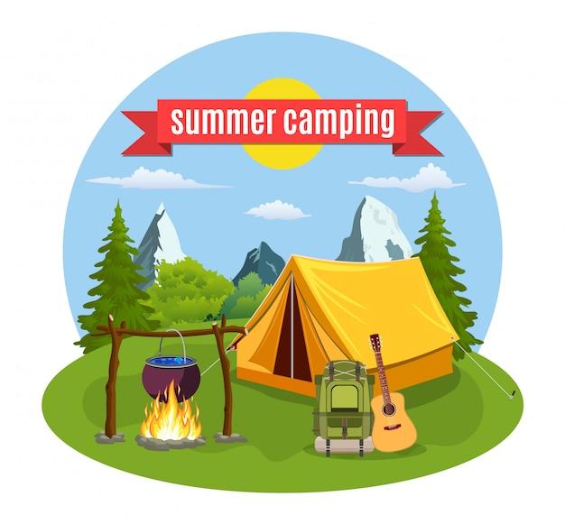 Campamento de verano. paisaje con carpa amarilla