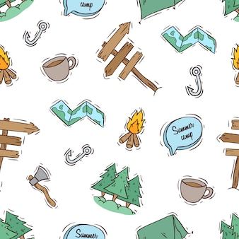 Campamento de verano de patrones sin fisuras con estilo de color