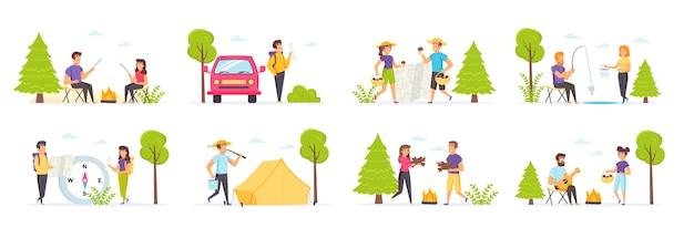 Campamento de verano con personajes de personas en diversas escenas y situaciones.