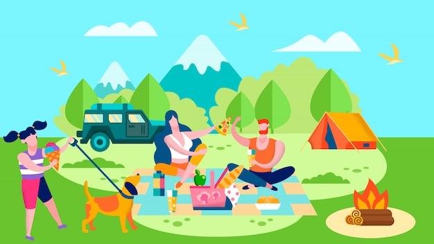 Campamento de verano y picnic en bosque de dibujos animados.
