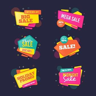 Campaña colorida de colección de banners de ventas