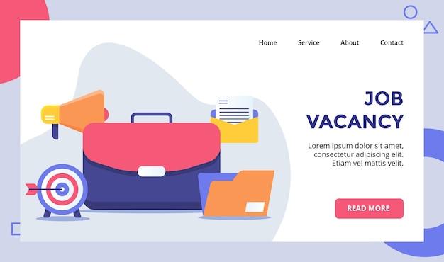 Campaña de concepto de vacante de trabajo para la plantilla de página de inicio de la página de inicio del sitio web con plano.