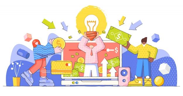 Campaña de crowdfunding e inicio de negocios, ilustración creativa