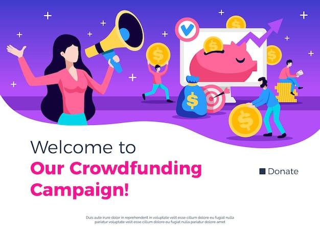 Campaña de crowdfunding publicidad consultoría promoción símbolos banner plano