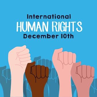 Campaña de derechos humanos rotulación con manos protestando, diseño de ilustraciones vectoriales