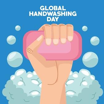 Campaña del día mundial del lavado de manos con barra de jabón y manos
