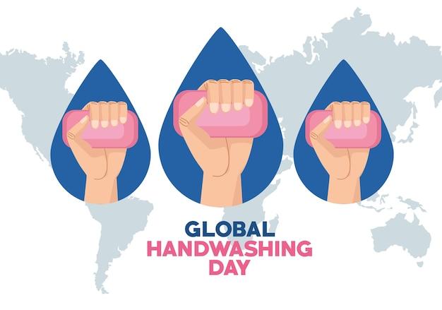 Campaña del día mundial del lavado de manos con manos levantando barras de jabón en el planeta tierra