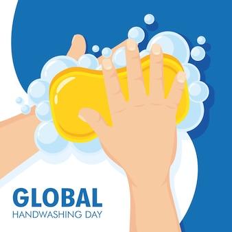 Campaña del día mundial del lavado de manos con pastilla de jabón y espuma.