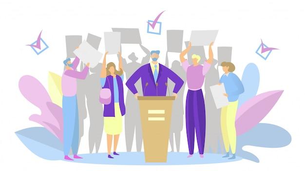 Campaña electoral, discurso del candidato del partido, personas que apoyan al líder político, ilustración