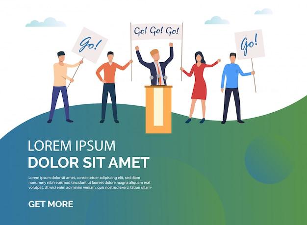 Campaña electoral de ilustración de presentación verde.