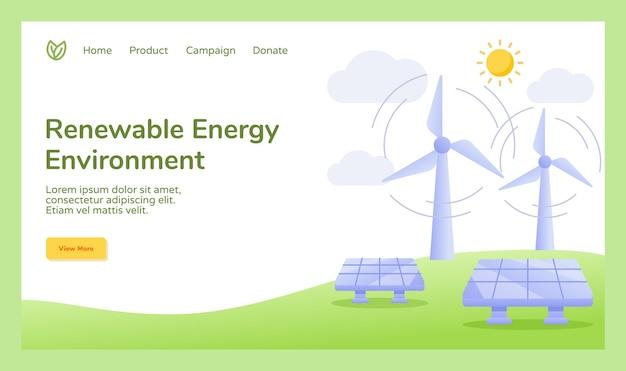 Campaña de energía de energía renovable ambiente viento célula solar energía