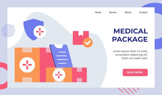 Campaña de entrega de paquete médico en caja para la página de inicio de la página de inicio del sitio web