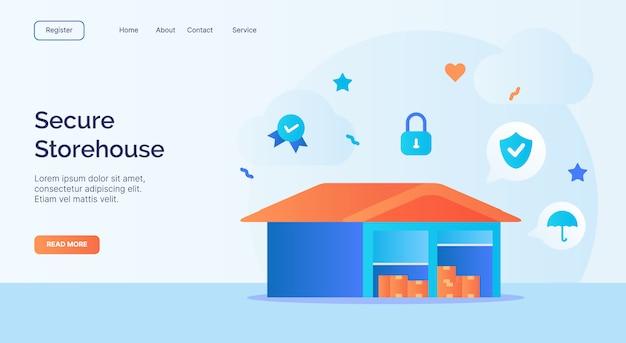 Campaña de icono de almacén de almacén seguro para banner de plantilla de aterrizaje de página de inicio de sitio web web con estilo plano de dibujos animados.