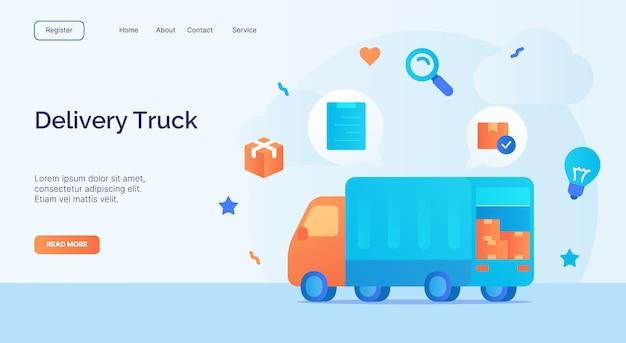 Campaña de icono de camión de reparto para banner de plantilla de aterrizaje de página de inicio de sitio web con estilo plano de dibujos animados