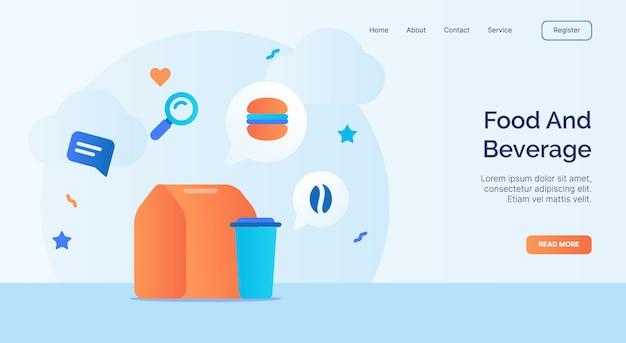Campaña de iconos de alimentos y bebidas para banner de plantilla de aterrizaje de página de inicio de sitio web con diseño de vector de estilo plano de dibujos animados.