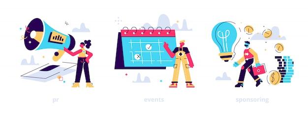 Campaña de marketing, planificación del flujo de trabajo y gestión del tiempo. financiación empresarial, dinero invirtiendo conjunto de imágenes prediseñadas. relaciones públicas, eventos, metáforas patrocinadoras.