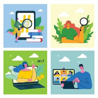 Campaña de marketing, videoconferencia, ilustración del concepto de análisis empresarial en un moderno diseño plano y limpio. hombres y mujeres usan computadoras portátiles y tabletas.