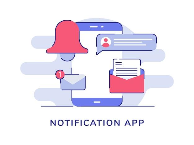 Campana de mensaje de correo electrónico de la aplicación de notificación en la pantalla del teléfono inteligente fondo blanco aislado