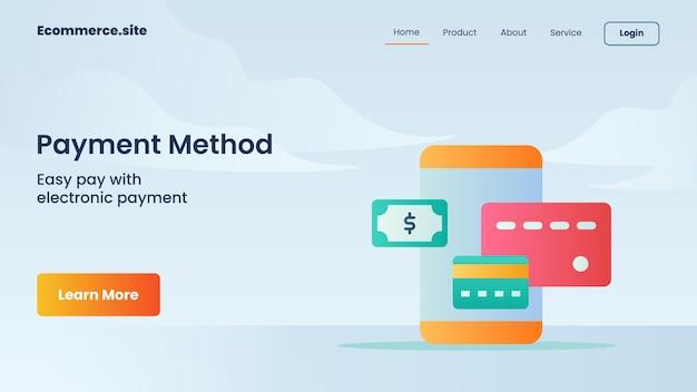 Campaña de método de pago para el folleto de plantilla de banner de página de inicio de página de inicio de página de inicio de sitio web