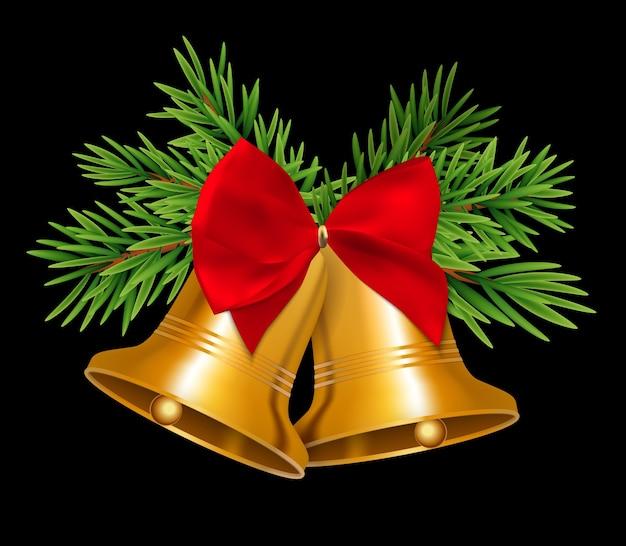 Campana de navidad con lazo rojo