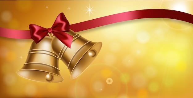 Campana de oro y fondo de lazo rojo
