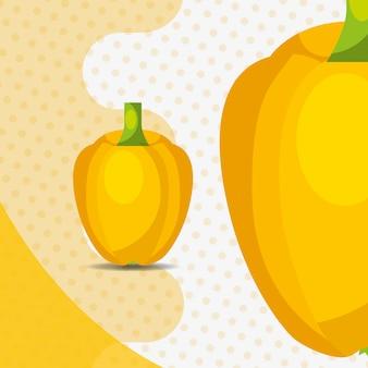 Campana de pimiento amarillo vegetal fresco sobre fondo de puntos