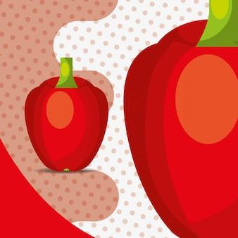 Campana de pimiento rojo de verduras frescas sobre fondo de puntos